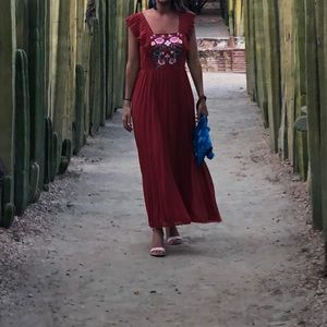Red maxi dress with embroidered top